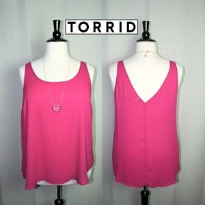 Torrid Pink Scoop Neck + V-Back Tank